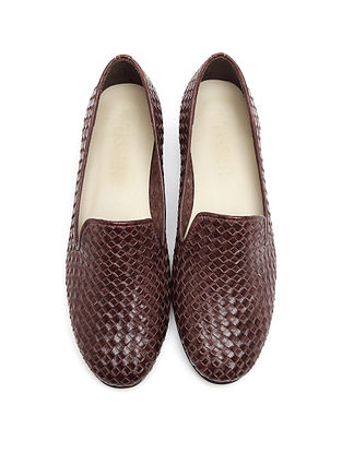 Brown Handwoven Genuine Leather Loafers