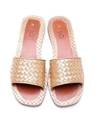 Golden Leather Woven Flats