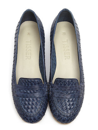 Blue Leather Ballerinas