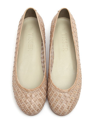 Beige Leather Ballerinas