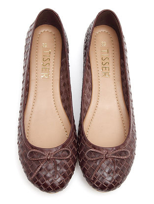 Brown Handwoven Genuine Leather Ballerinas