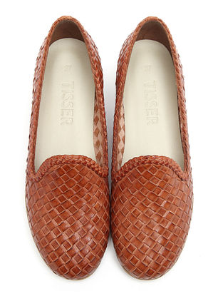 Tan Handwoven Genuine Leather Loafers