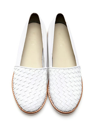 White Handwoven Genuine Leather Loafers