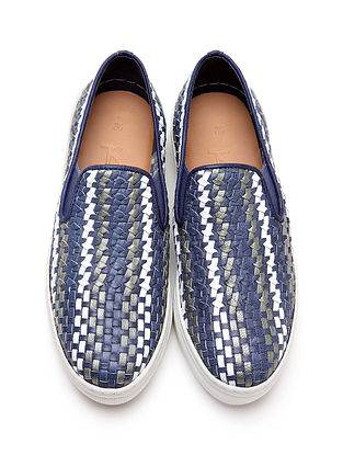 Blue-White Leather Shoes