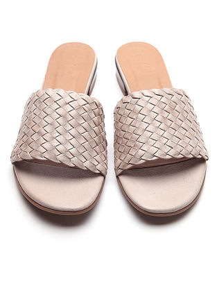 Beige Handwoven Leather Block Heels