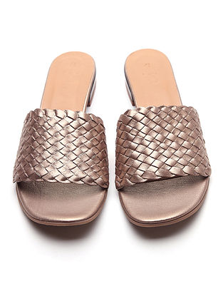 Metallic Handwoven Leather Block Heels