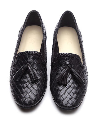 Black Handwoven Leather Loafers