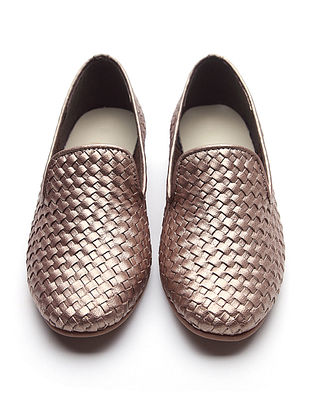 Metallic Handwoven Leather Loafers