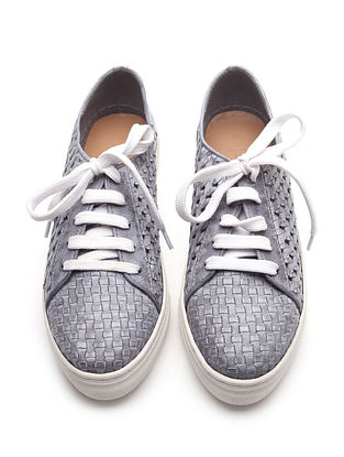 Grey Handwoven Genuine Leather Sneakers