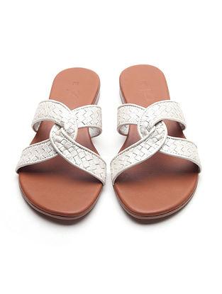 White Handwoven Leather Block Heels