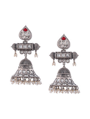 Red Enameled Temple Silver Jhumki Earrings with Pearls