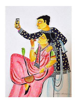 Limited Edition Kalighat pattachitra Babu-Bibi taking a 'selfie', sitting Print on Archival Paper -8.25in x 11.6in