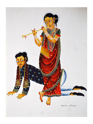 Limited Edition Kalighat pattachitra Babu dancing to Bibi's tune Print on Archival Paper -8.5in x 11.5in