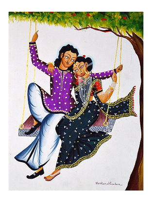 Limited Edition Kalighat pattachitra Babu-Bibi on a swing Print on Archival Paper -8.25in x 11.6in