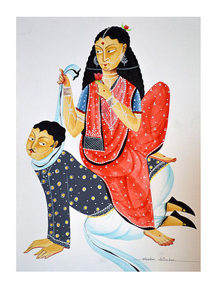Limited Edition Kalighat pattachitra Hen-pecked Babu Print on Archival Paper -8.5in x 11.5in
