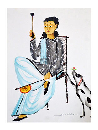 Limited Edition Kalighat pattachitra Babu with hookah, fan and dog Print on Archival Paper -8.25in x 11.6in