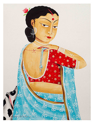 Limited Edition Kalighat Pattachitra Bibi in saree - Bengali-style Print on Archival Paper - 8.25in x 11.6in