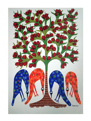 Multicolored Four Birds Searching Gond Painting on Paper (10in x 14in)