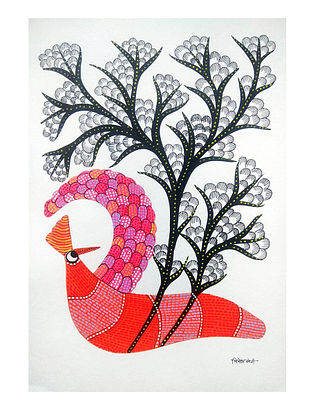 Multicolored Pink Bird Gond Painting on Paper (10in x 14in)