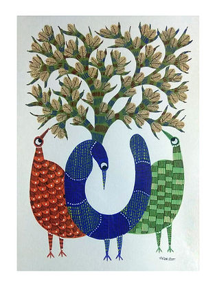 Multicolored Bird Trio Gond Painting on Paper (10in x 14in)
