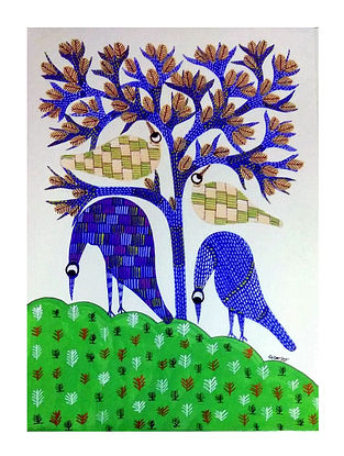 Multicolored Blue Birds Gond Painting on Paper (10in x 14in)