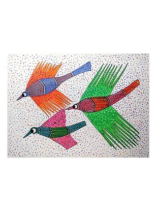 Multicolored Flying Dots and Dashes Gond Painting on Paper (10in x 14in)