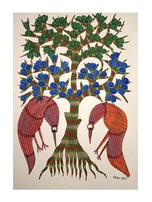 Multicolored Birds Searching Gond Painting on Paper (10in x 14in)
