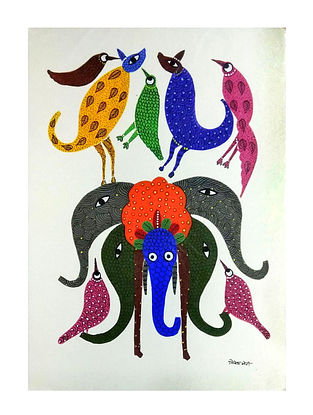 Multicolored Animal Kingdom Gond Painting on Paper (10in x 14in)