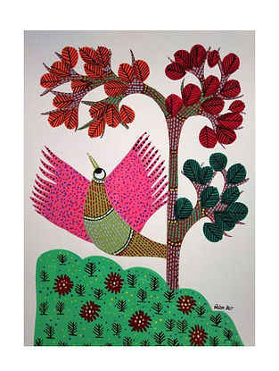 Multicolored Pings Wings Gond Painting on Paper (10in x 14in)
