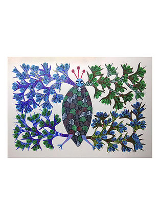 Multicolored Blue Bee Gond Painting on Paper (10in x 14in)
