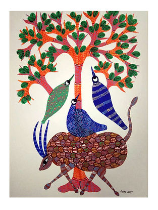 Multicolored Harmony Gond Painting on Paper (10in x 14in)