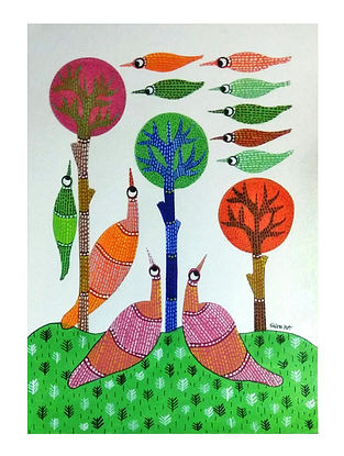 Multicolored Synchrony Gond Painting on Paper (10in x 14in)