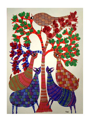 Multicolored Tree of Life Gond Painting on Paper (10in x 14in)