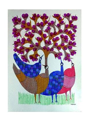 Multicolored Magenta Blossoms Gond Painting on Paper (10in x 14in)