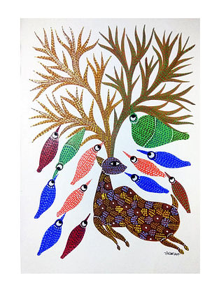 Multicolored Shelter Gond Painting on Paper (10in x 14in)