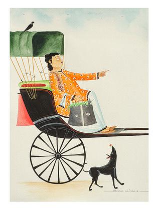 Kalighat Pattachitra Babu In A Rickshaw Multicolred Digital Print On Archival Paper (8.5in x 11.5in)