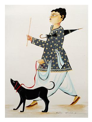 Kalighat Pattachitra Babu Walking Dog Multicolored Digital Print On Archival Paper (8.25in x 11.6in)