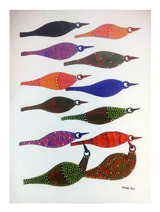 Bird Formation Multicolored Gond Painting on Paper (10in x 14in)