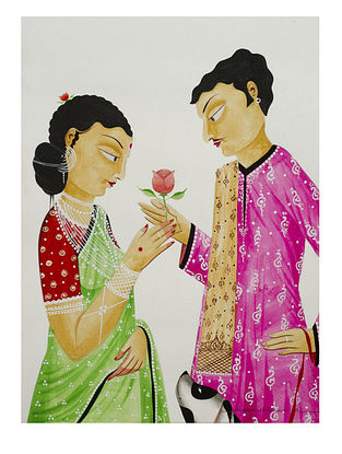 Kalighat Pattachitra Babu and Bibi with a Rose Digital Print on Archival Paper (11.5in x 8.5in)