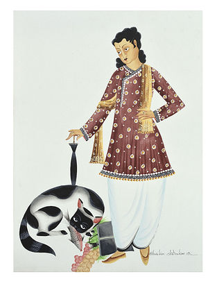 Kalighat Pattachitra Babu and His Cat Digital Print on Archival Paper (11.5in x 8.5in)