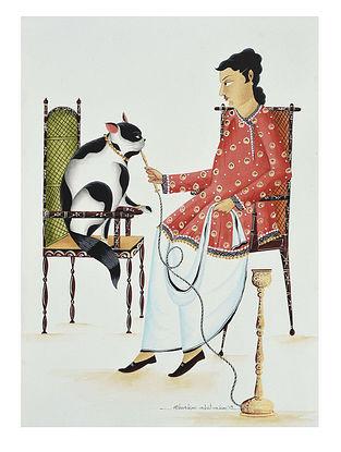 Kalighat Pattachitra Babu Feeding Hookah to His Cat Digital Print on Archival Paper (11.5in x 8.5in)