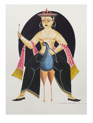 Kalighat Pattachitra Narsingha Digital Print on Archival Paper (11.5in x 8.5in)