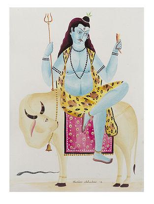 Kalighat Pattachitra Shiva on His Bull Digital Print on Archival Paper (11.5in x 8.5in)
