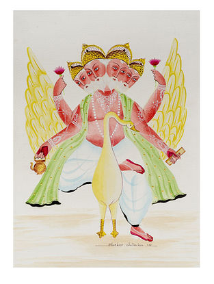 Kalighat Pattachitra Brahma on His Goose Digital Print on Archival Paper (11.5in x 8.5in)