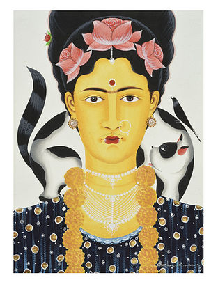 Kalighat Pattachitra Kali-Kahlo with Cat Digital Print on Archival Paper (11.5in x 8.5in)