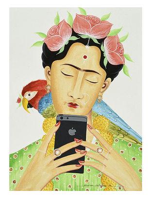Kalighat Pattachitra Kali-Kahlo Taking a Selfie Digital Print on Archival Paper (11.5in x 8.5in)