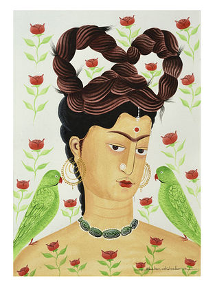 Kalighat Pattachitra Kali-Kahlo with Parrots Digital Print on Archival Paper (11.5in x 8.5in)