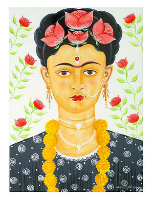 Kalighat Pattachitra Kali-Kahlo with Garland Digital Print on Archival Paper (11.5in x 8.5in)