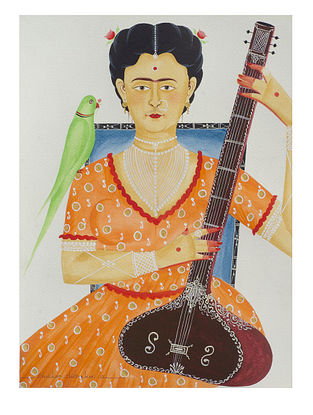 Kalighat Pattachitra Kali-Kahlo Playing Sitar Digital Print on Archival Paper (11.5in x 8.5in)