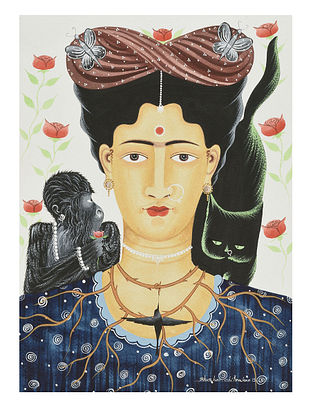 Kalighat Pattachitra Kali-Kahlo with Cat and Monkey Digital Print on Archival Paper (11.5in x 8.5in)